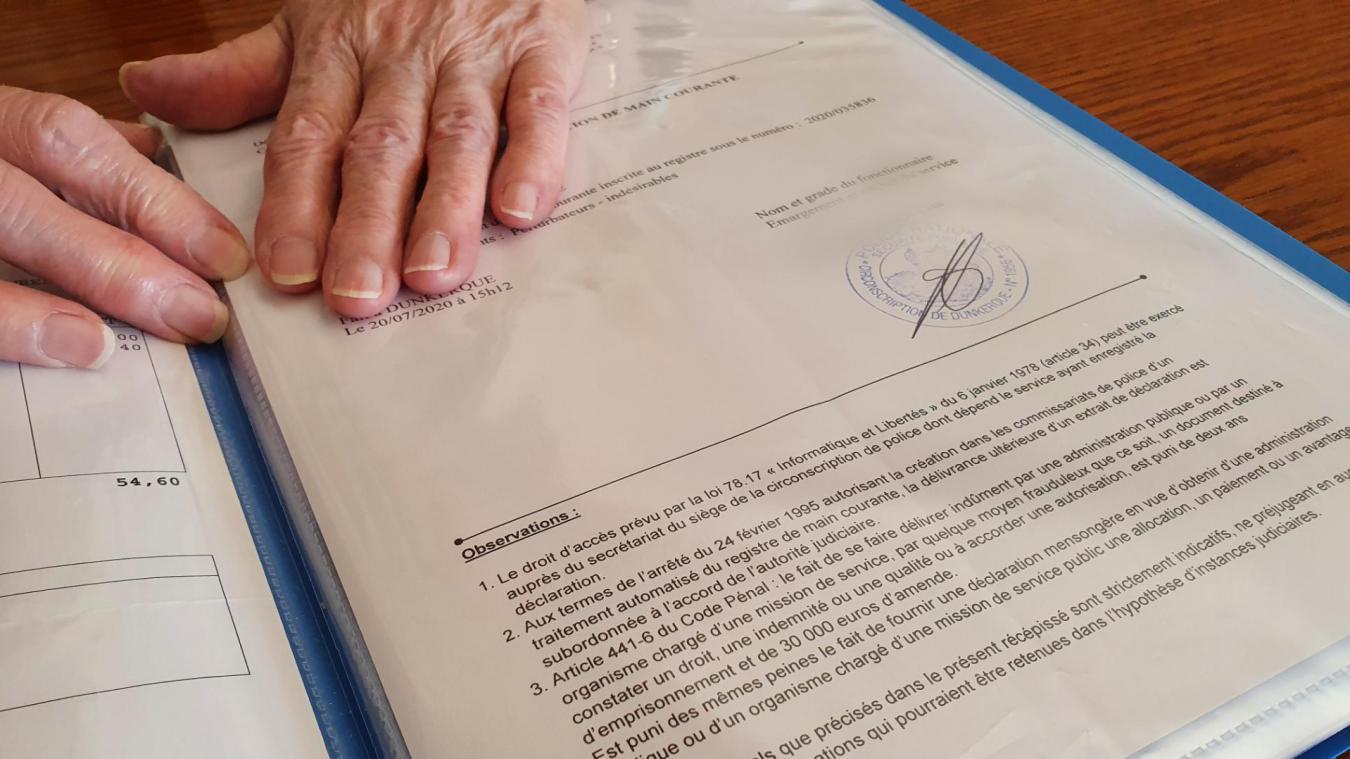 La septuagénaire a déposé une main courante auprès du commissariat afin que les autorités gardent une trace des faits.
