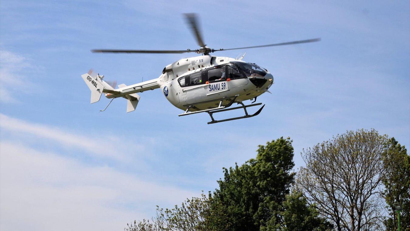 Un hélicoptère du Samu a été dépêché pour transporter la victime au Centre hospitalier de Lille. (Photo d'archives)