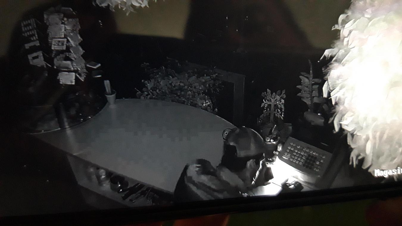 La vidéosurveillance du fleuriste montre le cambrioleur tenter d'ouvrir le tiroir-caisse à l'aide d'une paire... de ciseaux.