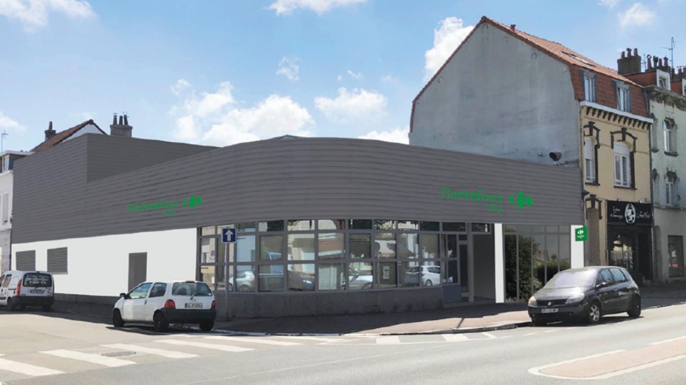 Carrefour a décidé de conserver la physionomie originale du bâtiment, ainsi que les grandes baies vitrées.