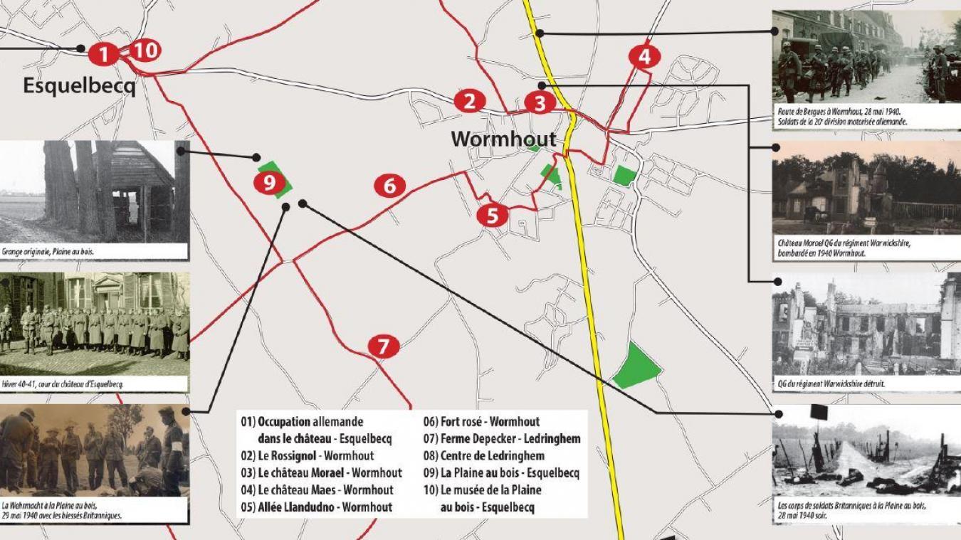 Voici le tracé des Sentiers de mémoire et les différents points historiques relevés par les organisateurs (Photo de l'association La Plaine au bois)