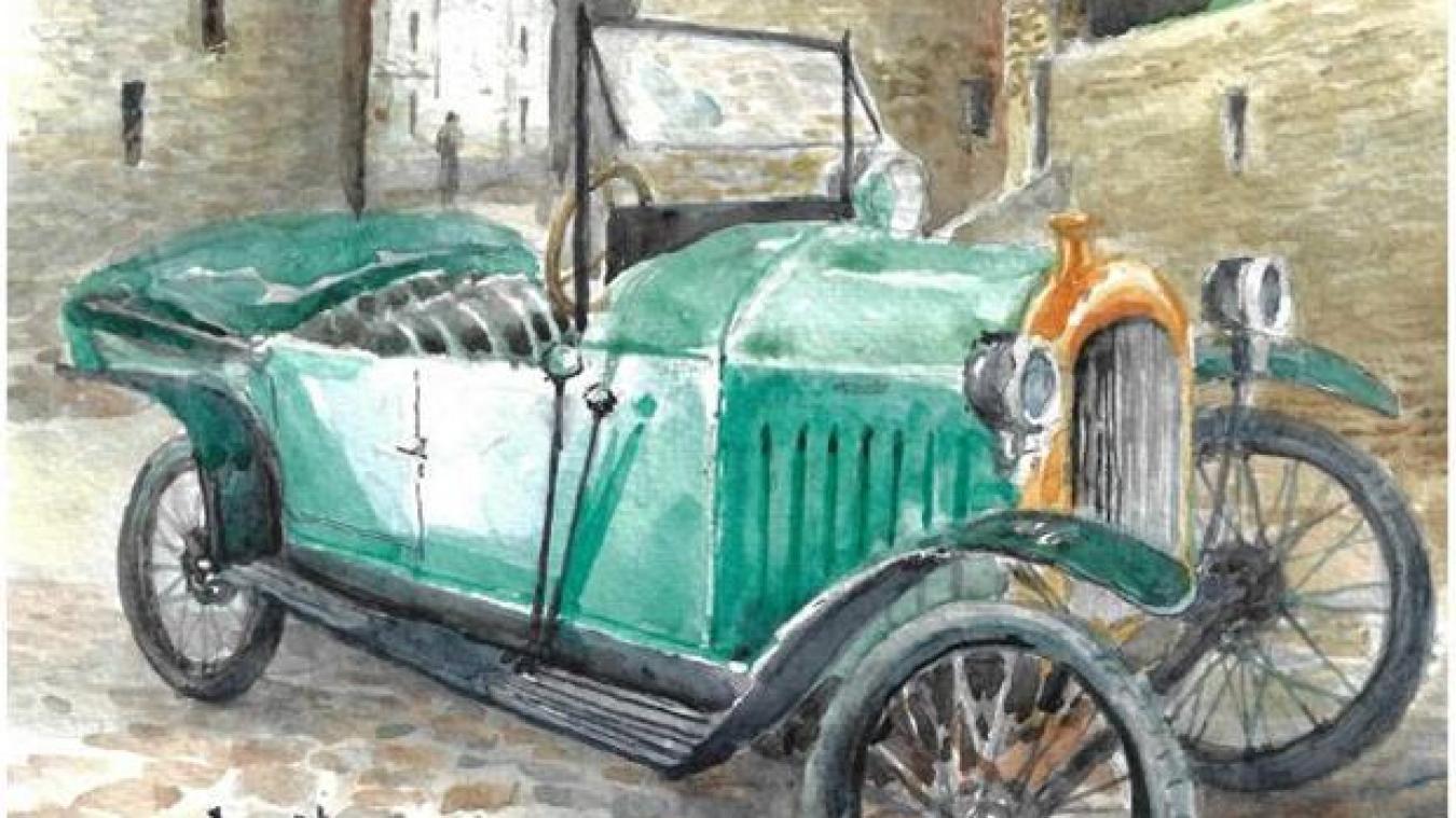 La fameuse Quadrilette Peugeot de 1920 d'après une aquarelle d'un fidèle collaborateur : l'artiste Cyril.