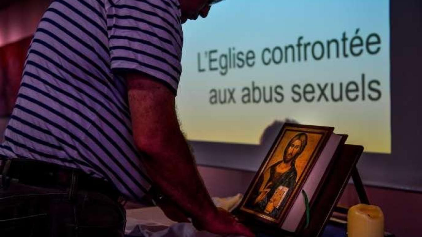 Lors d'une réunion organisée par le diocèse de Lille sur le thème « L'Eglise confrontée aux abus sexuels », à Lomme (Nord), en mai 2019.