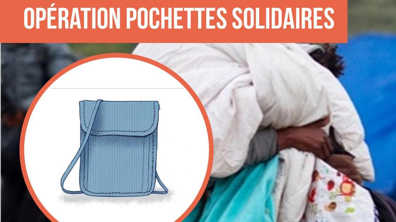 L'association fait un appel au don de pochettes pour venir en aide aux exilés.