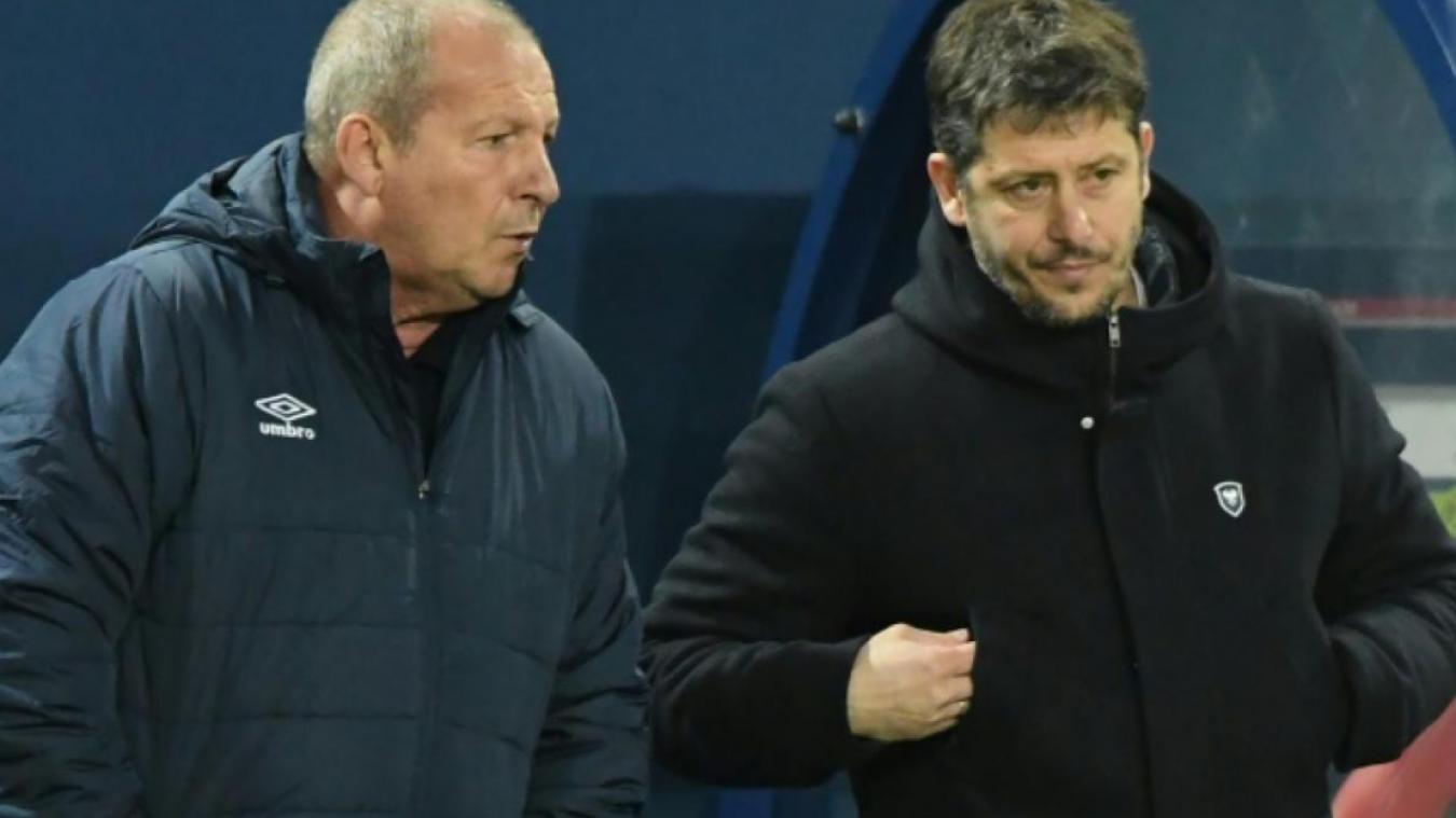 Rolland Courbis (à gauche) et Fabien Mercadal (à droite) ont collaboré de février à juin 2019, à la tête du Stade Malherbe de Caen pour un bilan de sept défaites, deux nuls et quatre victoires.