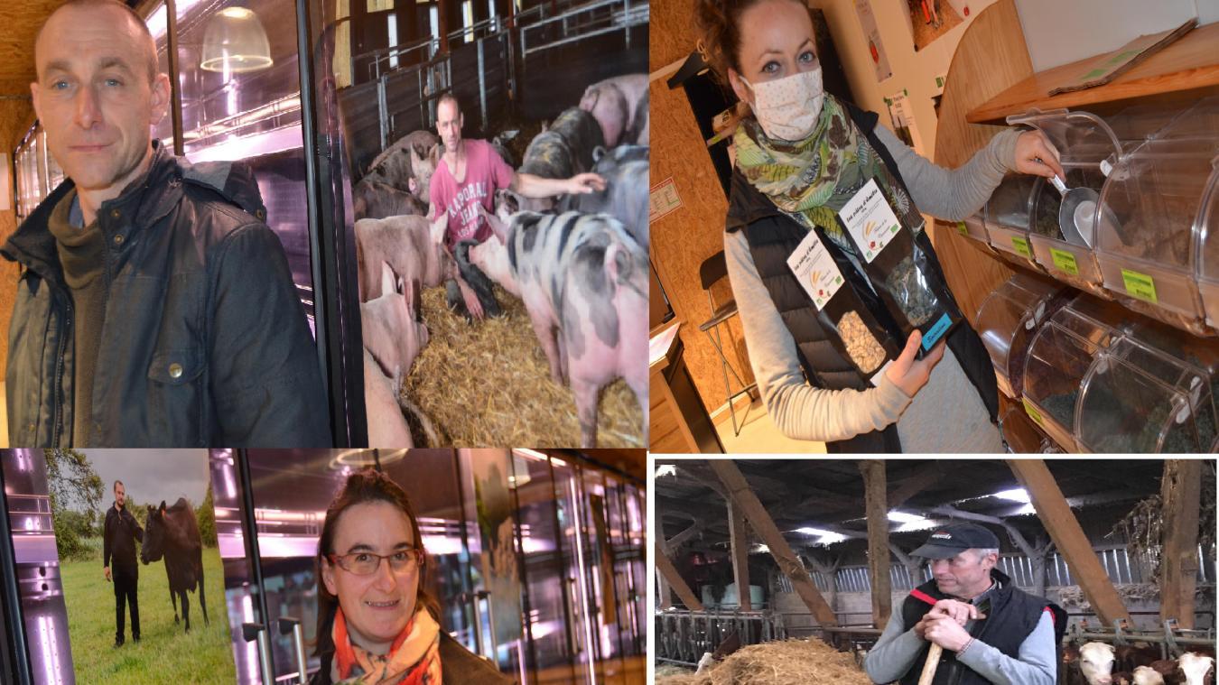 Jean-Louis Rota, Emilie Hecquet, Delphine Bodin et Pierre Deldicque, des agriculteurs engagés pour leur mode de production biologique au plus près des consommateurs.