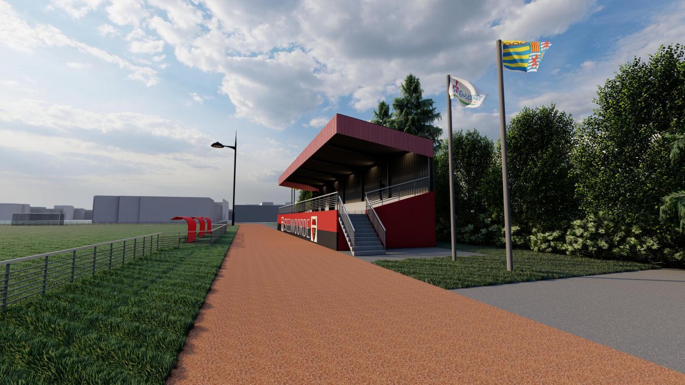 La tribune permettra d'accueillir 300 personnes, sans mordre sur la piste d'athlétisme.