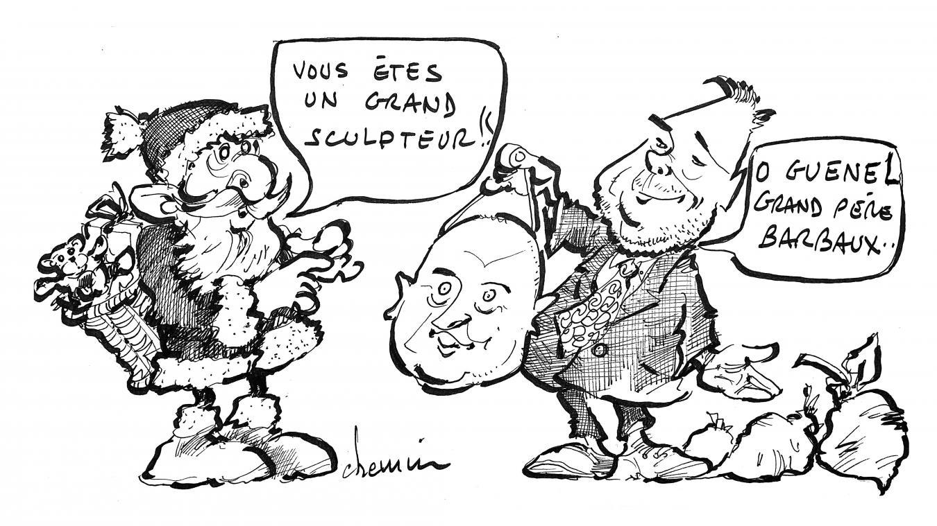 Le Père Noël, Philippe Fait, le maire d'Étaples, sans oublier Cauet, l'animateur sur les ondes d'NRJ, voilà un bon cocktail, non pas pour les fêtes, mais pour un beau dessin de la semaine avec Michel Chemin.
