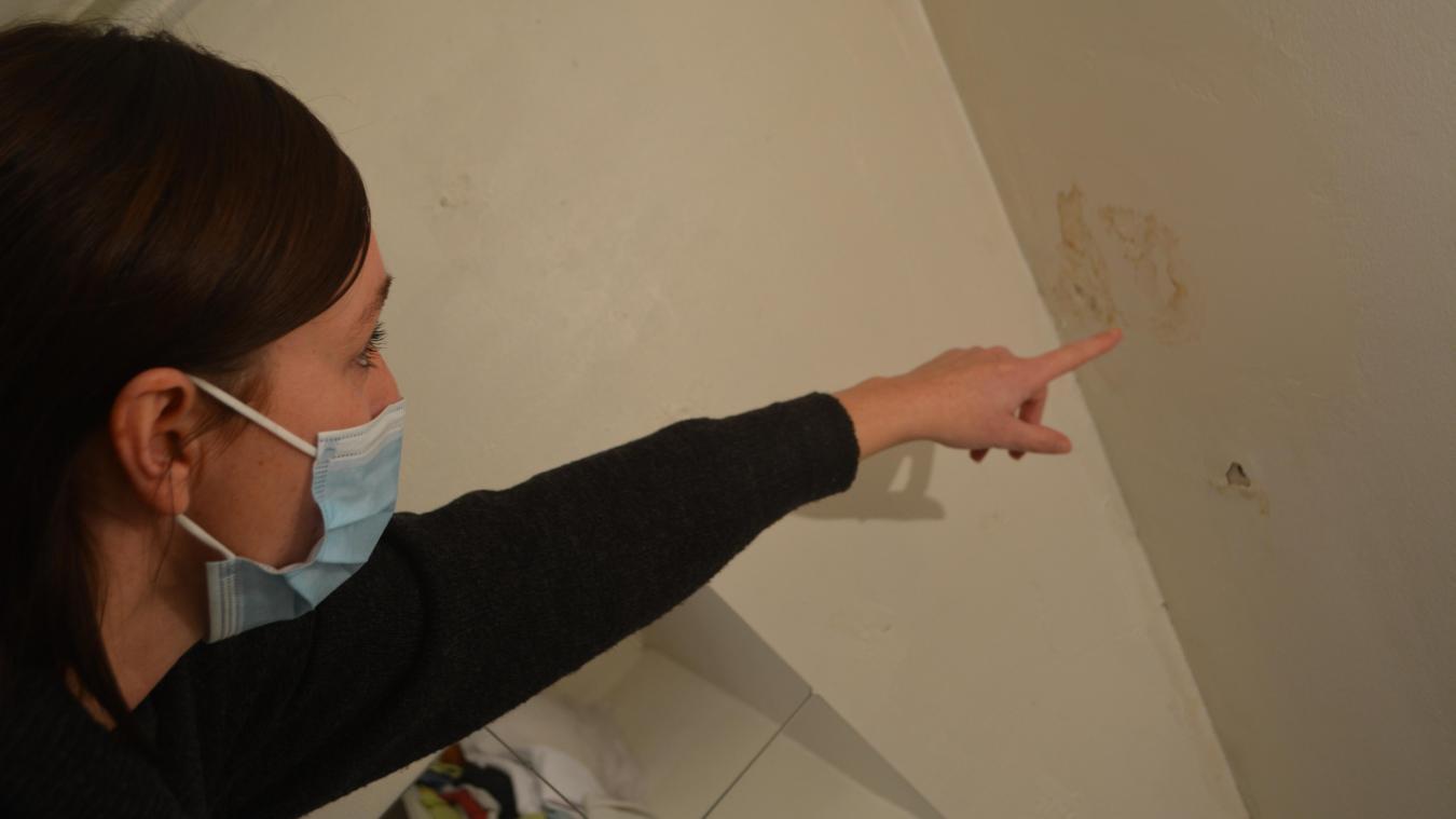 En plus de l'humidité dans les cinq chambres, certaines pièces affichent des bulles d'air, qui se transforment parfois tout bonnement en trous.