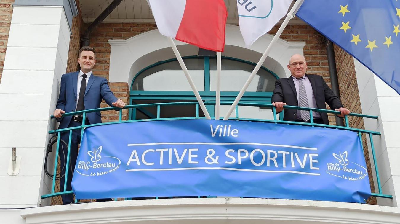 Steve Bossart, à gauche, et Marc Tartar, à droite, peuvent avoir le sourire, Billy-Berclau a obtenu le label «ville active et sportive».