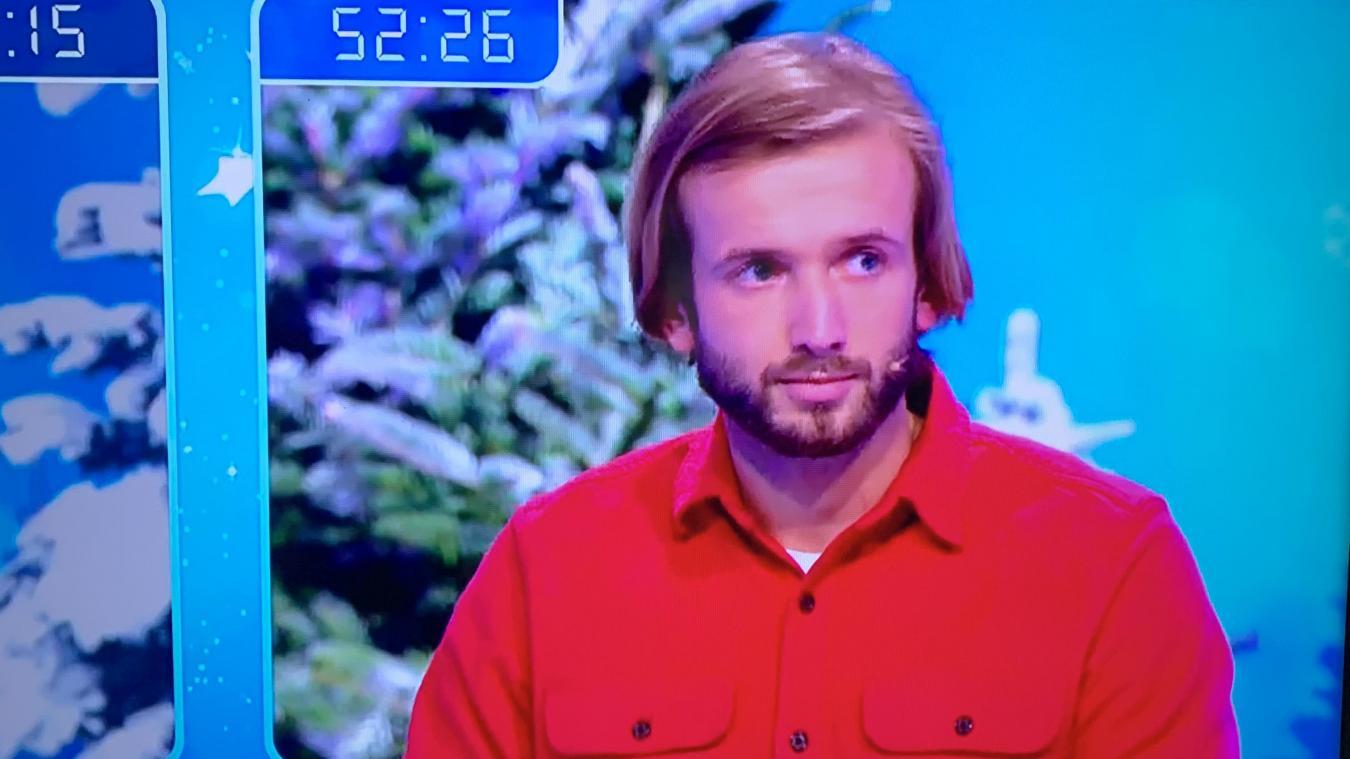 Quentin dans l'émission-jeu qui a été diffusée hier. Il sera à nouveau à l'écran aujourd'hui.