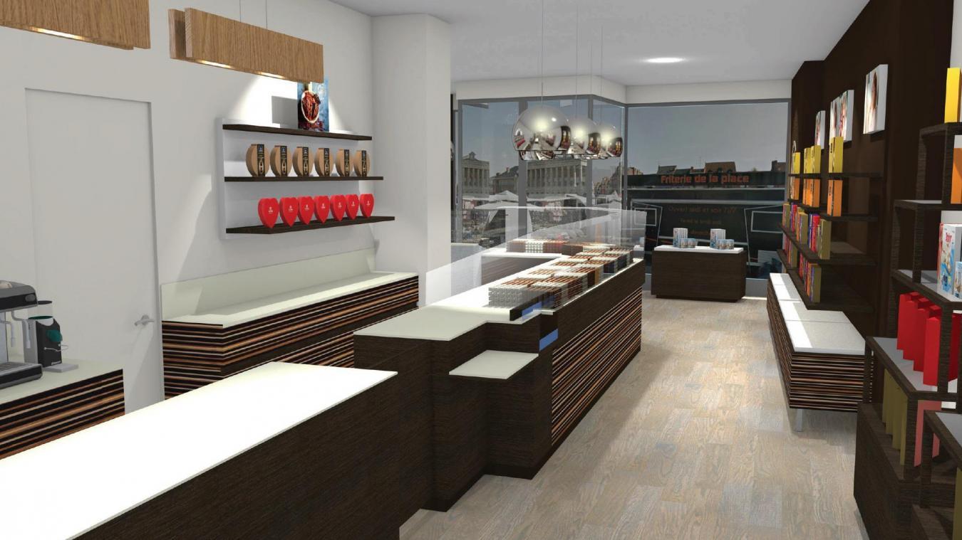 Voilà à quoi ressemblera le futur magasin. L'espace café se situera à l'arrière de la boutique. ©Petrus Design Factory