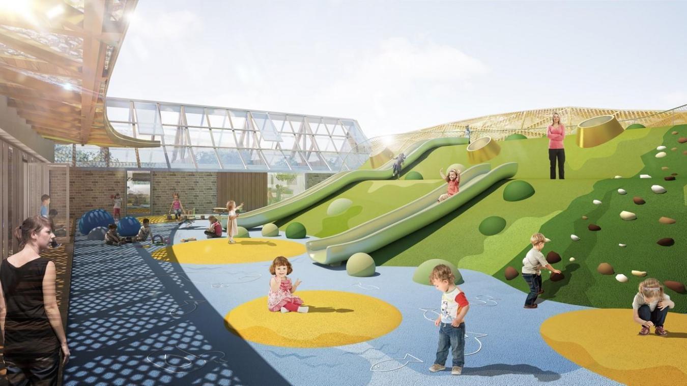 Des couleurs et des jeux prévus dans ce grand équipement dédié à l'enfance qui aurait dû voir le jour en 2020, mais la Covid est passée par-là.  Blaq architecture