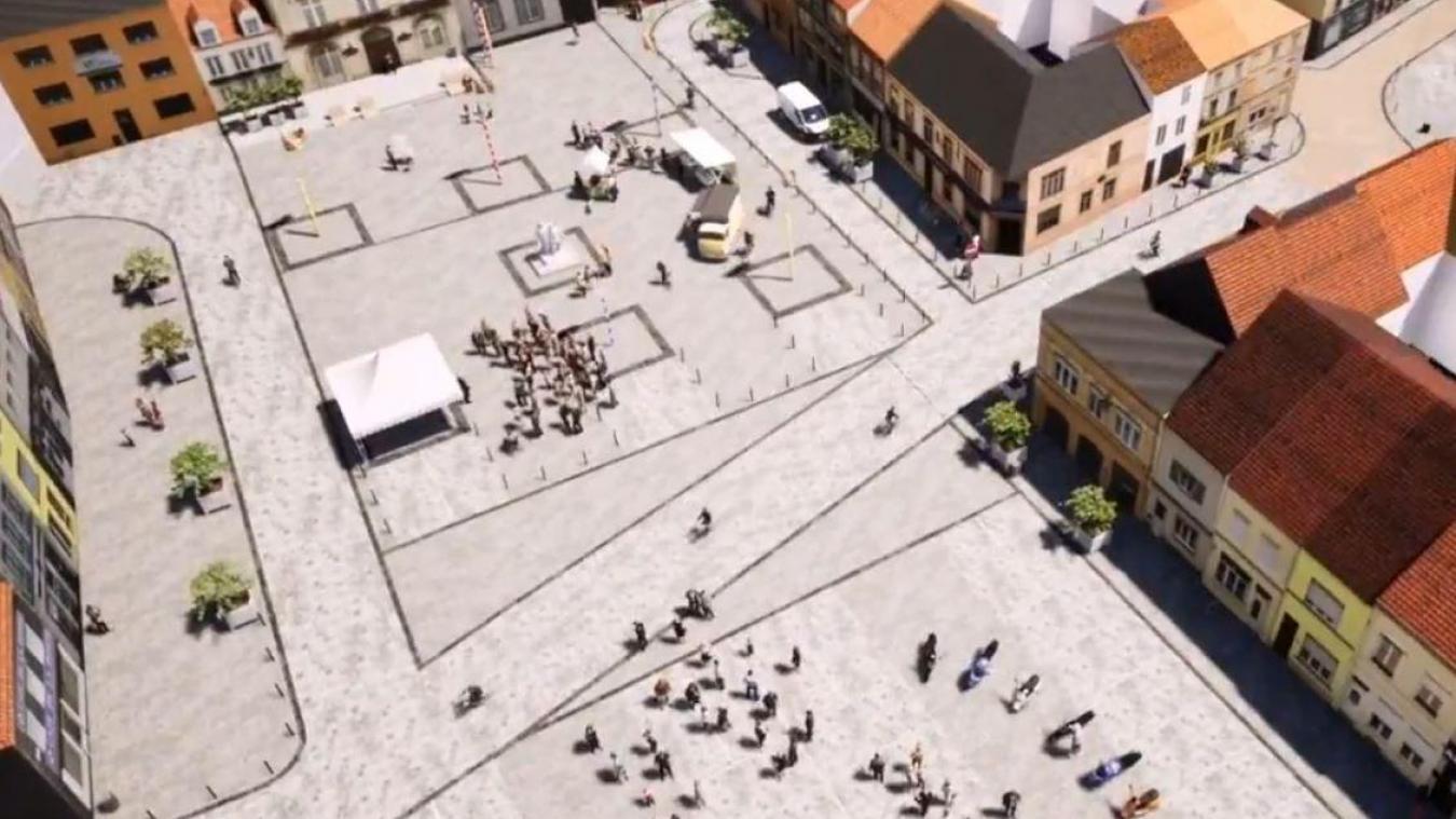 La vidéo montre un parvis devant la mairie (en haut), avec un parking de l'autre côté de la route.