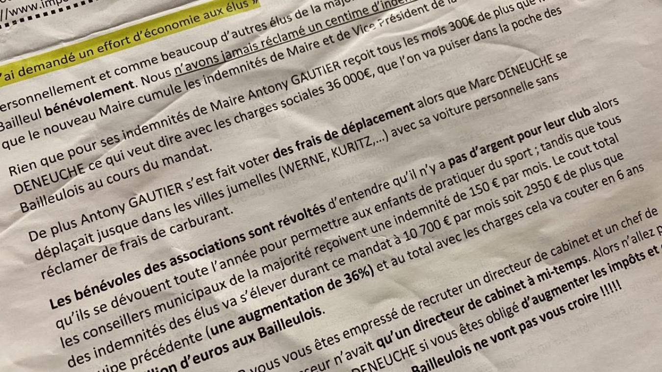 En fin d'année, un tract « Réponses à Antony Gautier » a circulé dans les boîtes aux lettres.