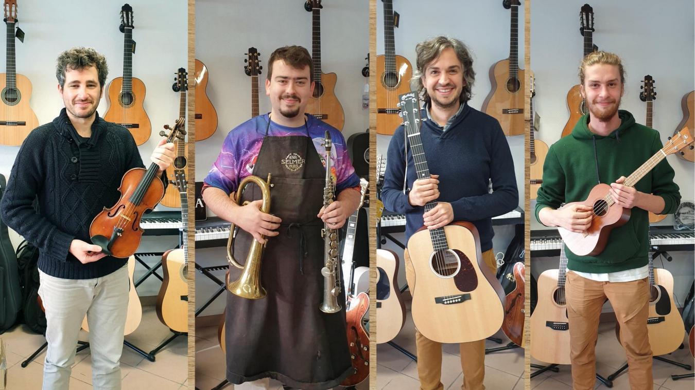 De gauche à droite Thierry, Paul, Benoît et Jean-Baptiste, l'apprenti de Benoît.