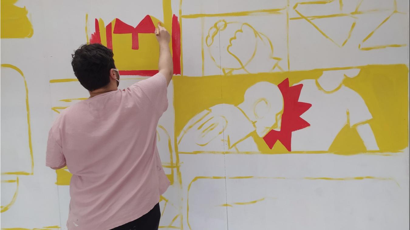 Bilel Allem a peint des saynètes qui représentent les différents mouvements du football.