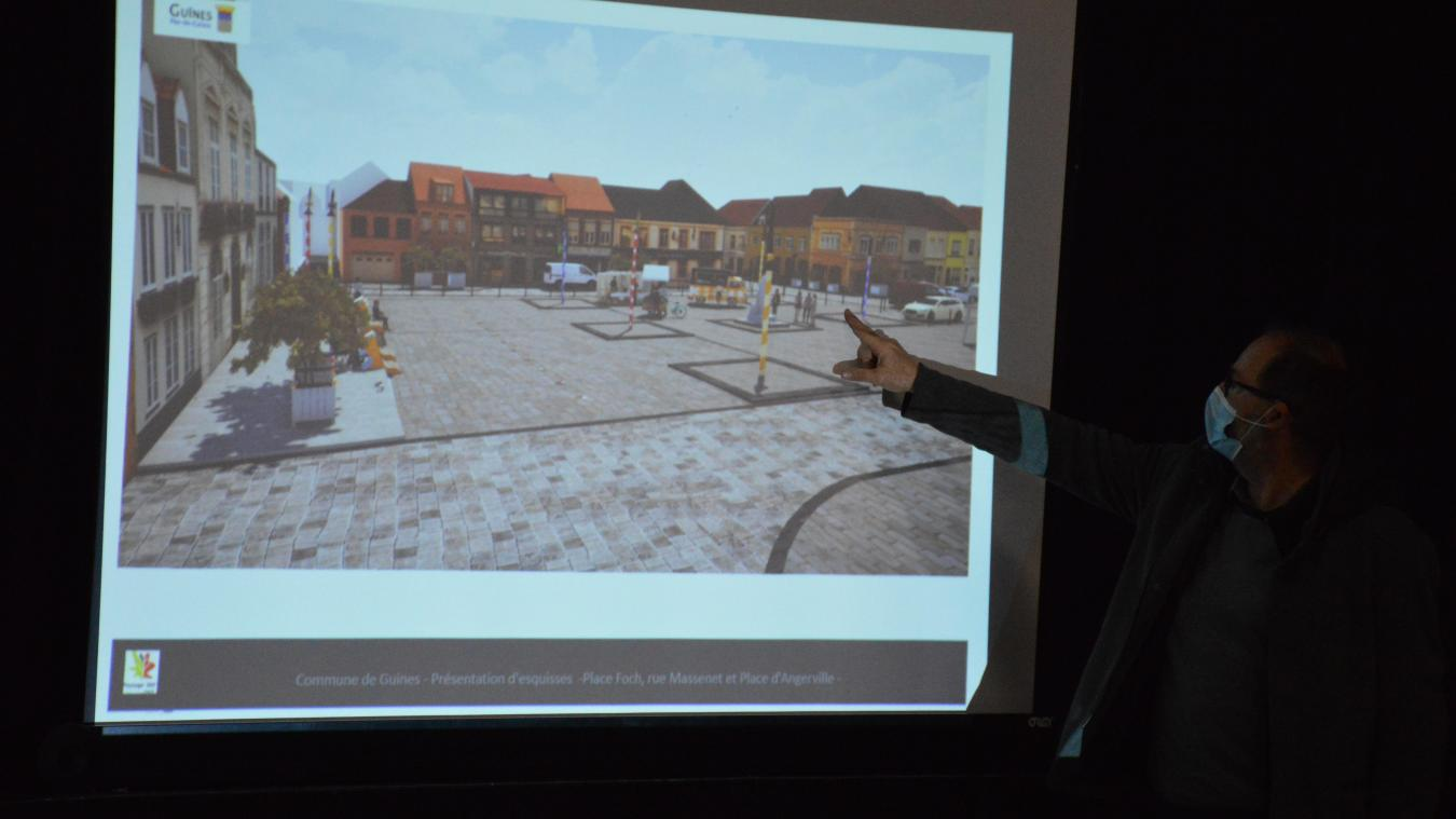 Le bureau d'études Paysage 360, représenté par Antoine Beyaert, a présenté des images montrant ce à quoi pourrait ressembler le futur parvis de la place Foch.