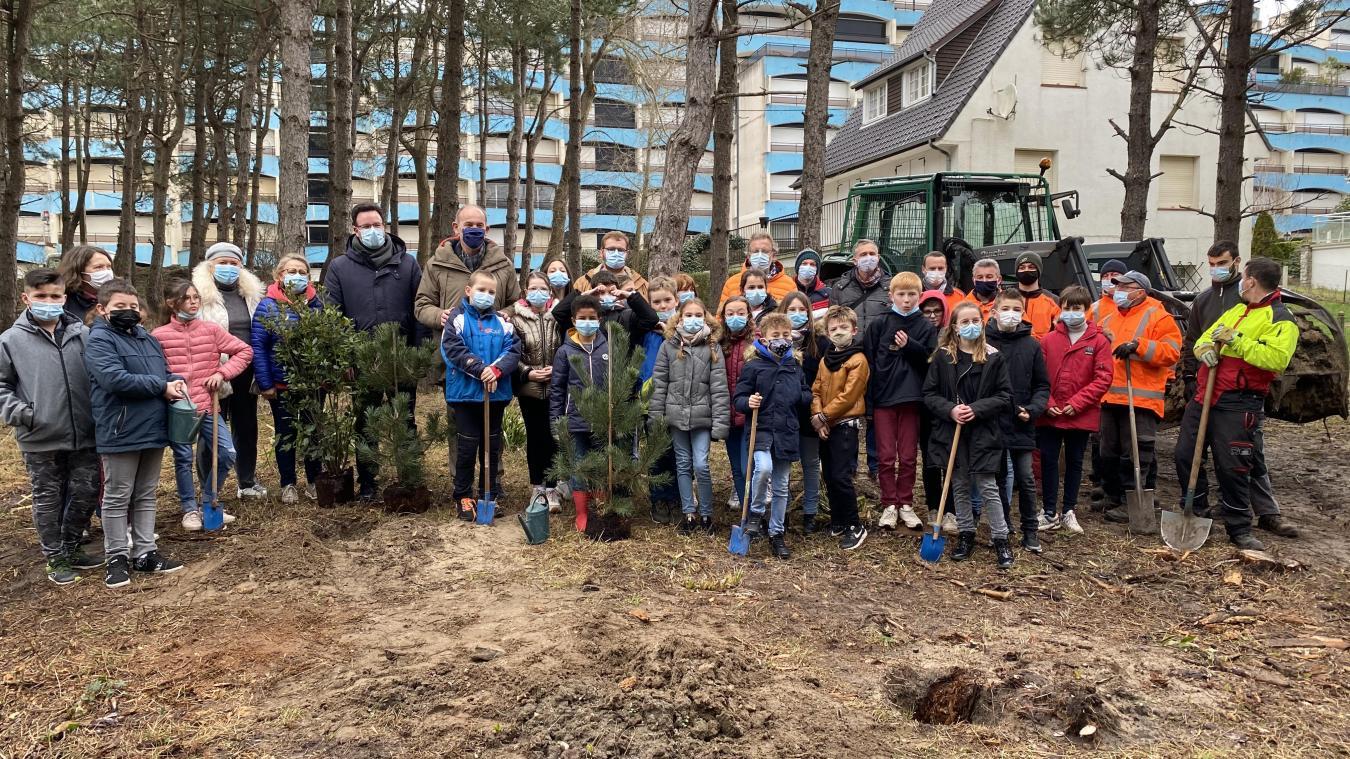 Quarante élèves de CM2 ont replantés des arbres, jeudi 18 mars.