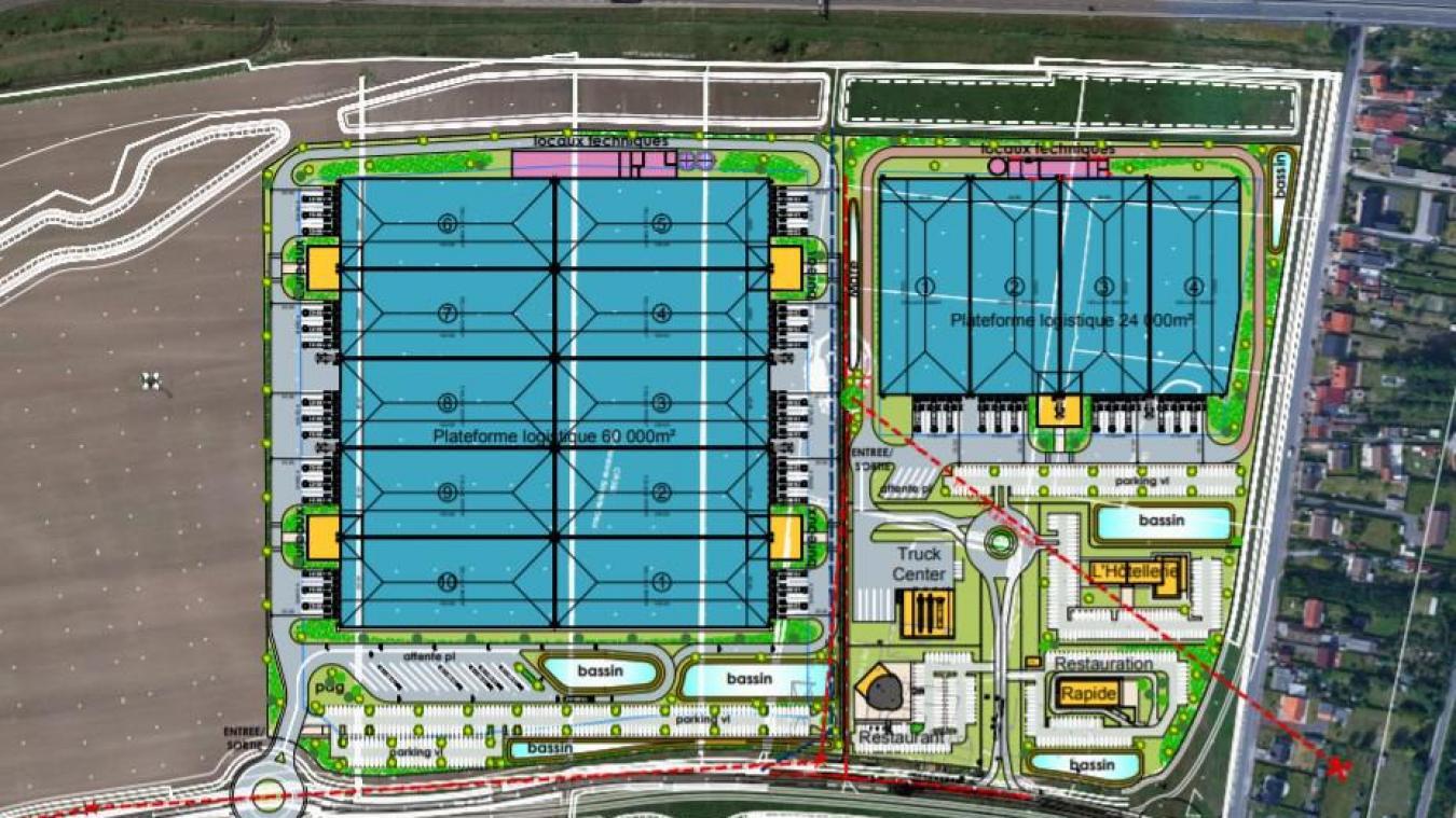 Un coup d'oeil sur le plan de masse du projet de la société APRC Group permet de visualiser l'implantation de la future base logistique zone de la Turquerie à Calais. (Document: APRC Group).