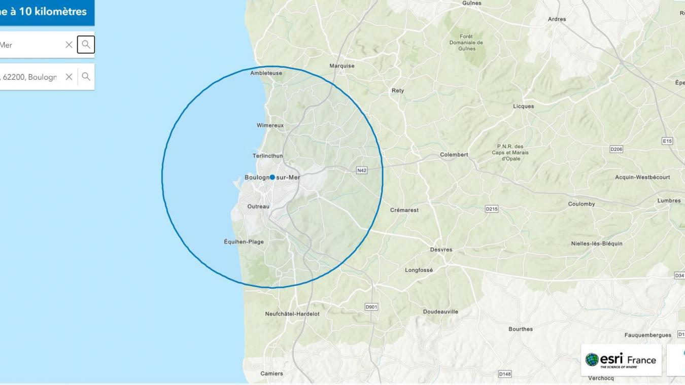 Le rayon de dix kilomètres autour de Boulogne. Desvres, Hardelot et Marquise en sont exclus.