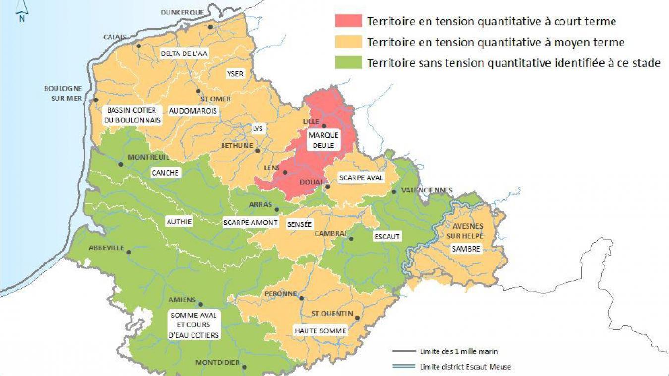 La situation est très variable dans les quinze sous-bassins d'Artois-Picardie.
