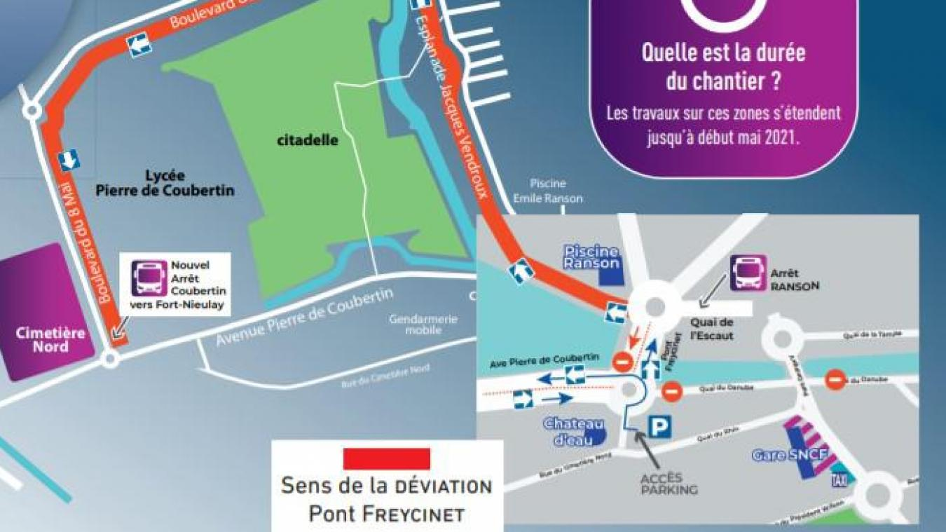 Chantier de la gare routière de Calais : attention aux déviations