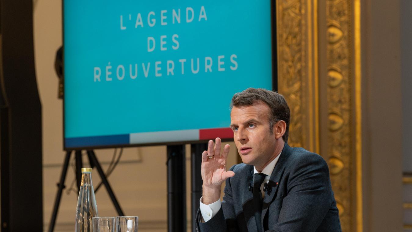 « J'ai bon espoir que la France entière pourra passer à l'étape du 19 mai. Les mesures seront nationales, mais nous pourrons actionner des « freins d'urgence » sanitaires dans les territoires où le virus circulerait trop », a évoqué Emmanuel Macron.