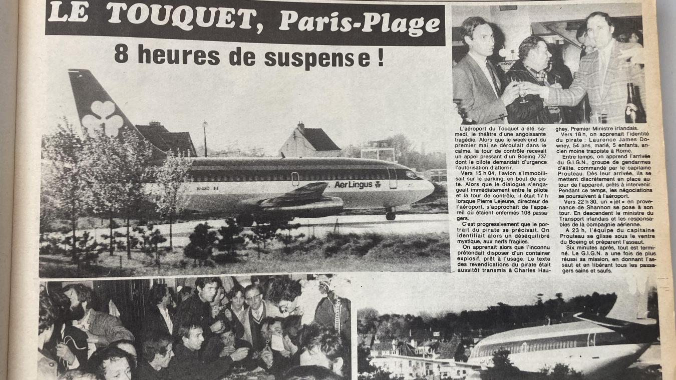 Dans son édition datée du dimanche 10 mai 1981, Montreuil-Hebdo relate le détournement du Boeing 737 qui a atterri sur la piste de l'aéroport du Touquet-Paris-Plage.