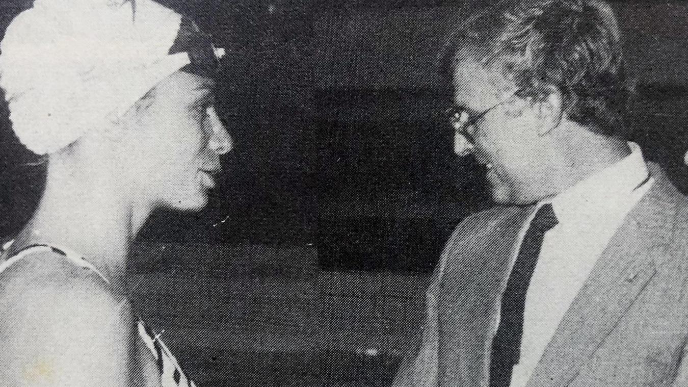 Muriel Hermine et Claude Wilquin, lors de l'inauguration de l'Agora en 1985.