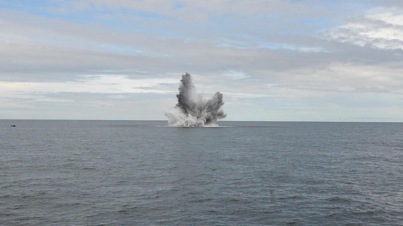Six grenades anti-sous-marines détectées sur l'épave Bruno Heinemann, au large de Dunkerque, ont été contreminées.