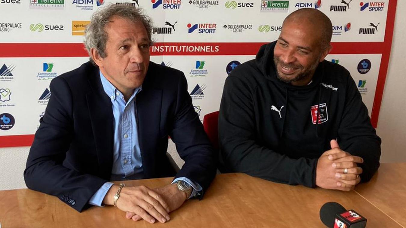 Le président de l'USBCO, Reinold Delattre en compagnie du nouvel entraîneur des Rouge et Noir, Eric Chelle.
