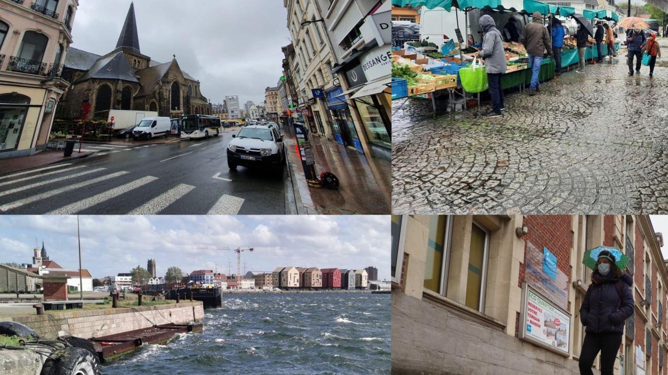 À Boulogne-sur-Mer (en haut à gauche), Montreuil (en haut à droite), Dunkerque (en bas à gauche) et Calais (en bas à droite), du ciel gris, de la pluie et encore du vent ce samedi matin!