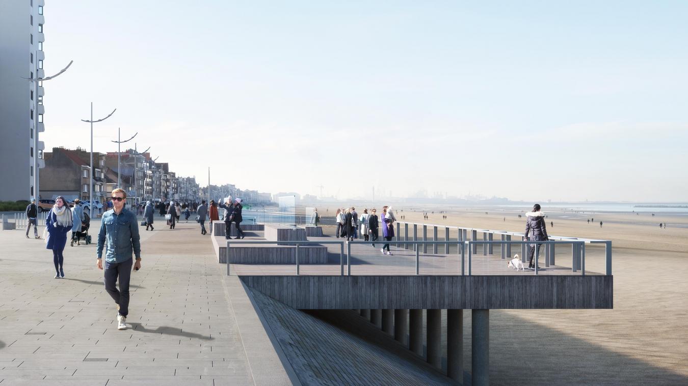 Deux belvédères vont être installés sur la digue de Mer. Le premier au niveau de la rue du Sous-marin Prométhée, le second face au Grand pavois.