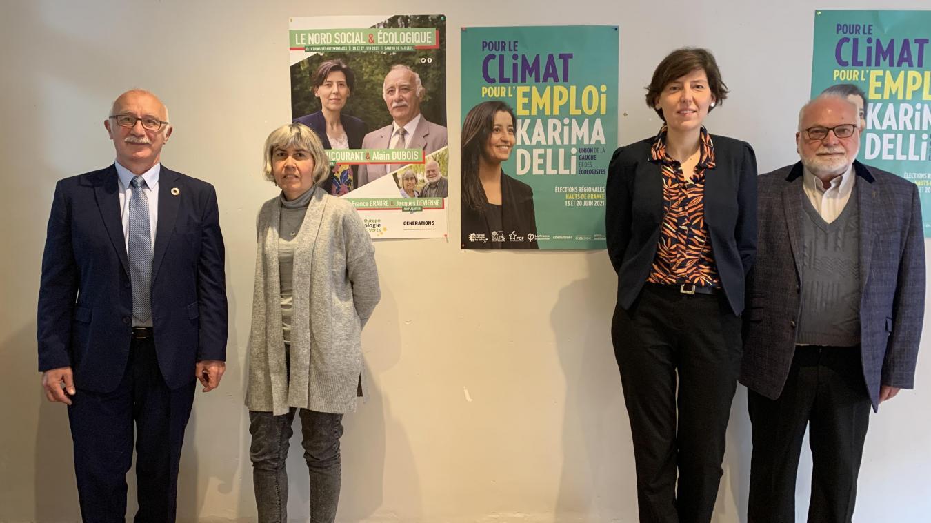 De gauche à droite : Alain Dubois, Marie-France Braure, Émilie Ducourant et Jacques Devienne.