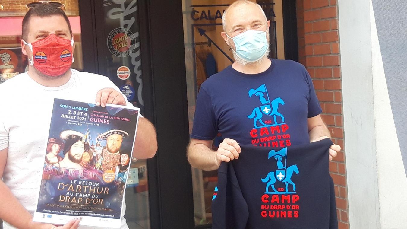 L'association du camp du Drap d'Or a noué, pour l'occasion, un partenariat avec Calaisfornia pour faire des tee-shirts commémoratifs de l'événement.