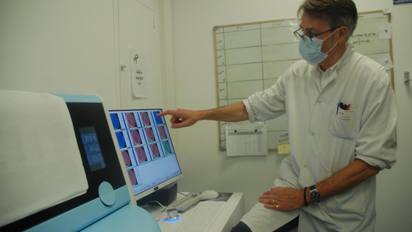Philippe Andlauer est un des biologistes du service d'Aide Médicale à la Procréation du centre hospitalier de Calais. En bas à gauche, l'incubateur Vitrolife et sur l'écran, les dernières photos des embryons.