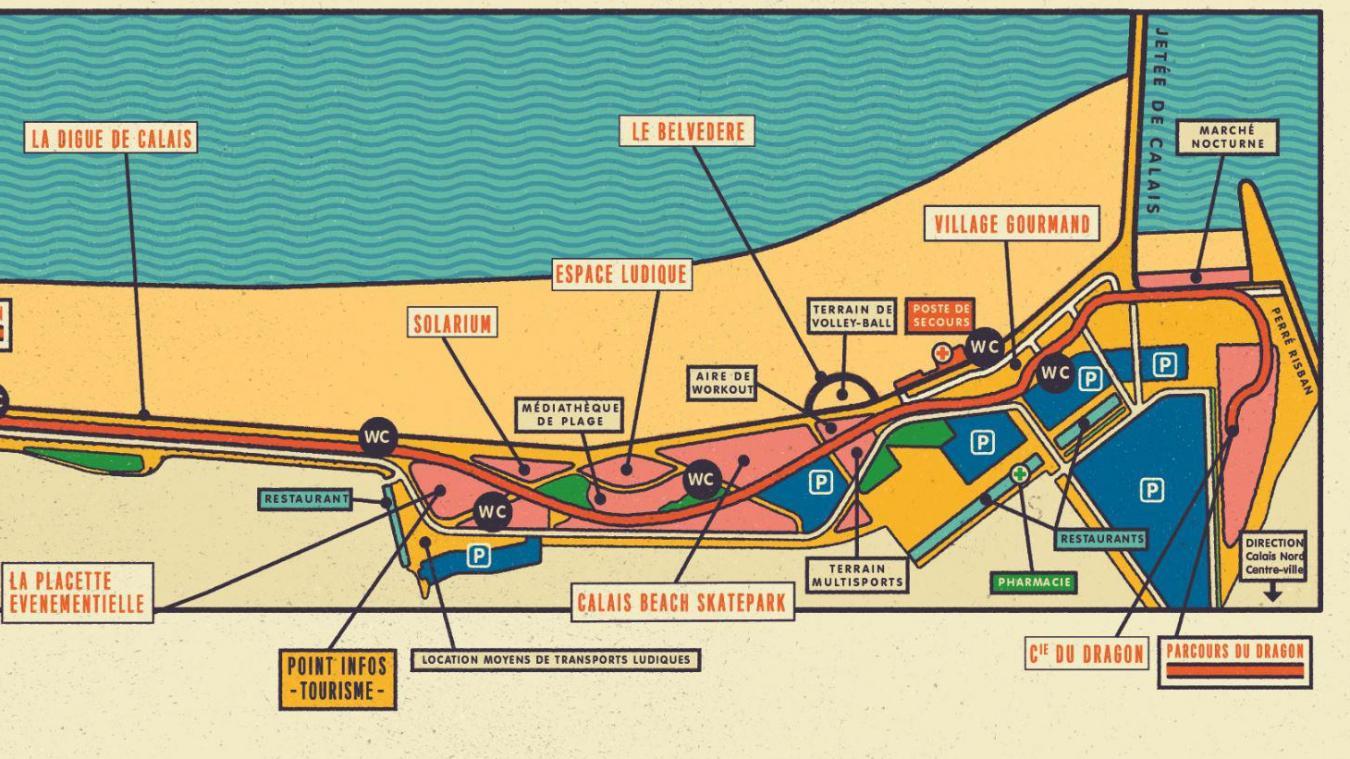 Le plan du front de mer réalisé par la Ville de Calais.