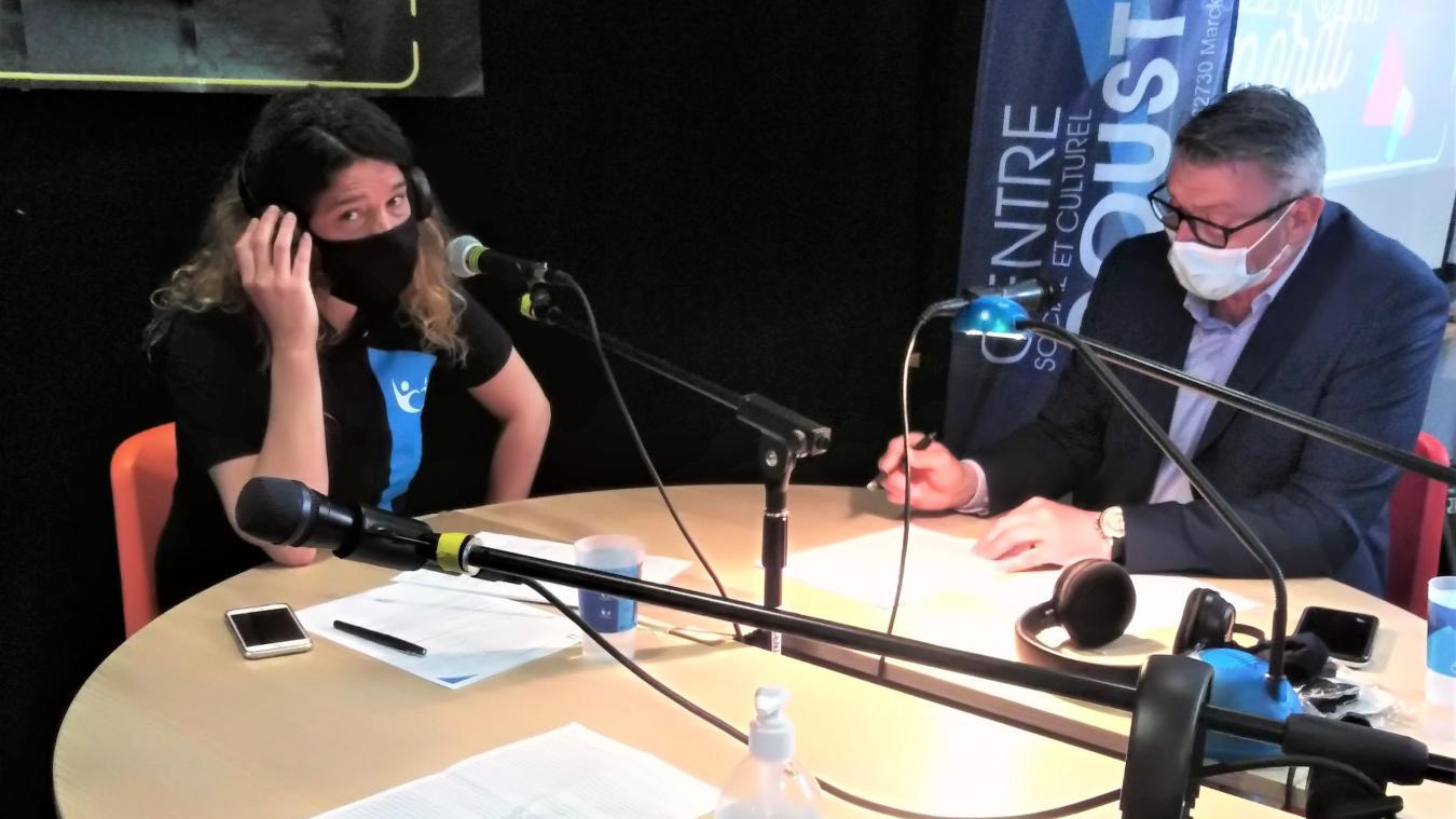 Paulette Ringot et Fabrice Martin au micro de Radio Cousteau.