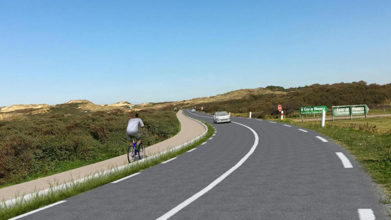 a piste cyclable empêchera également les véhicules de stationner le long de la route. - Projection fin des travaux