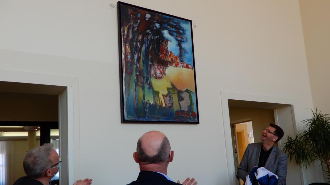 Le tableau  La Bataille de Dunkerque  est désormais exposé à l'hôtel de ville de Rosendaël.