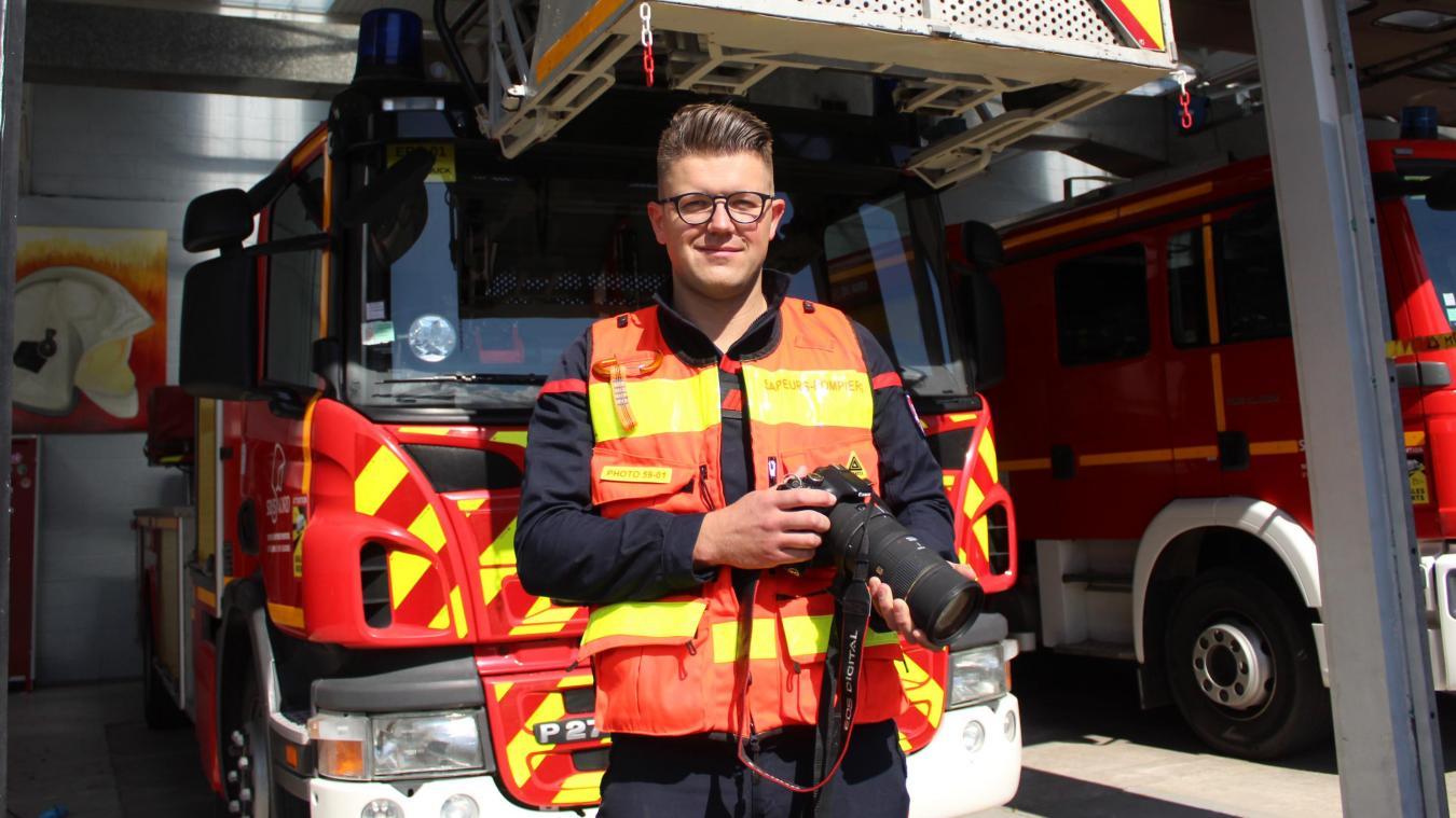 Julien Suvé est sapeur-pompier volontaire à la caserne d'Hazebrouck et un des photographes du SDIS 59.