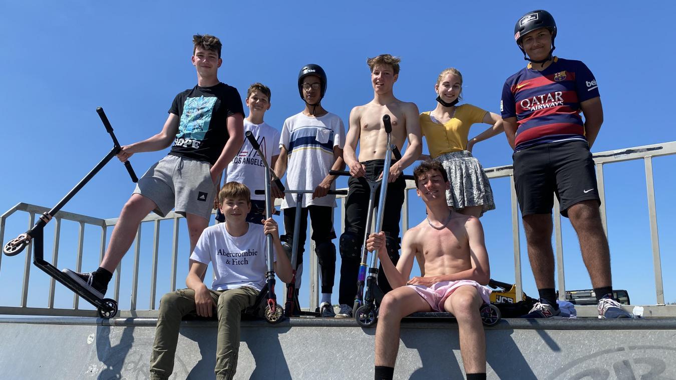 Les trotiriders du Touquet en action au skate-park, mercredi 9 juin.