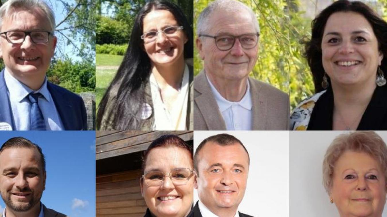 Quatre binômes en lice ce dimanche 20 juin pour succéder au duo sortant Bertrand Ringot / Isabelle Fernandez (en haut à gauche), pour le canton de Grande-Synthe.