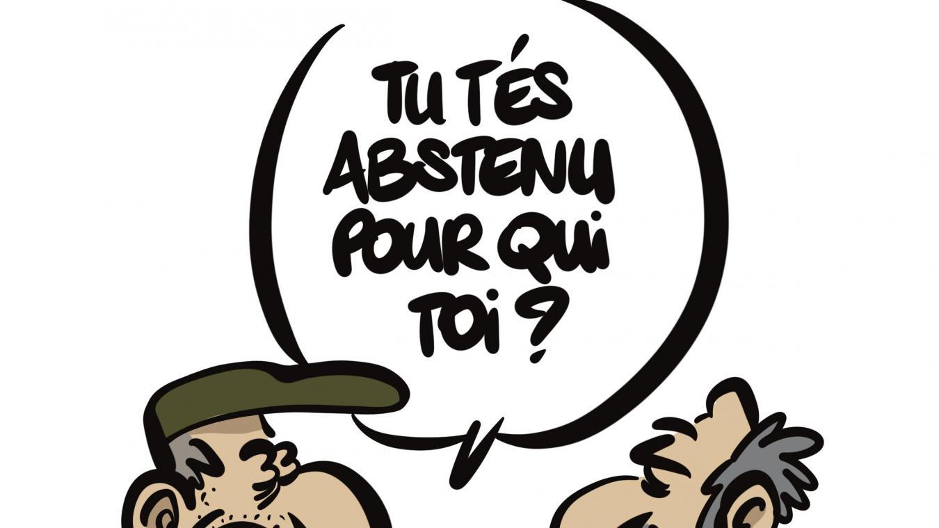 Notre caricaturiste Kurt au sujet de l'abstention.