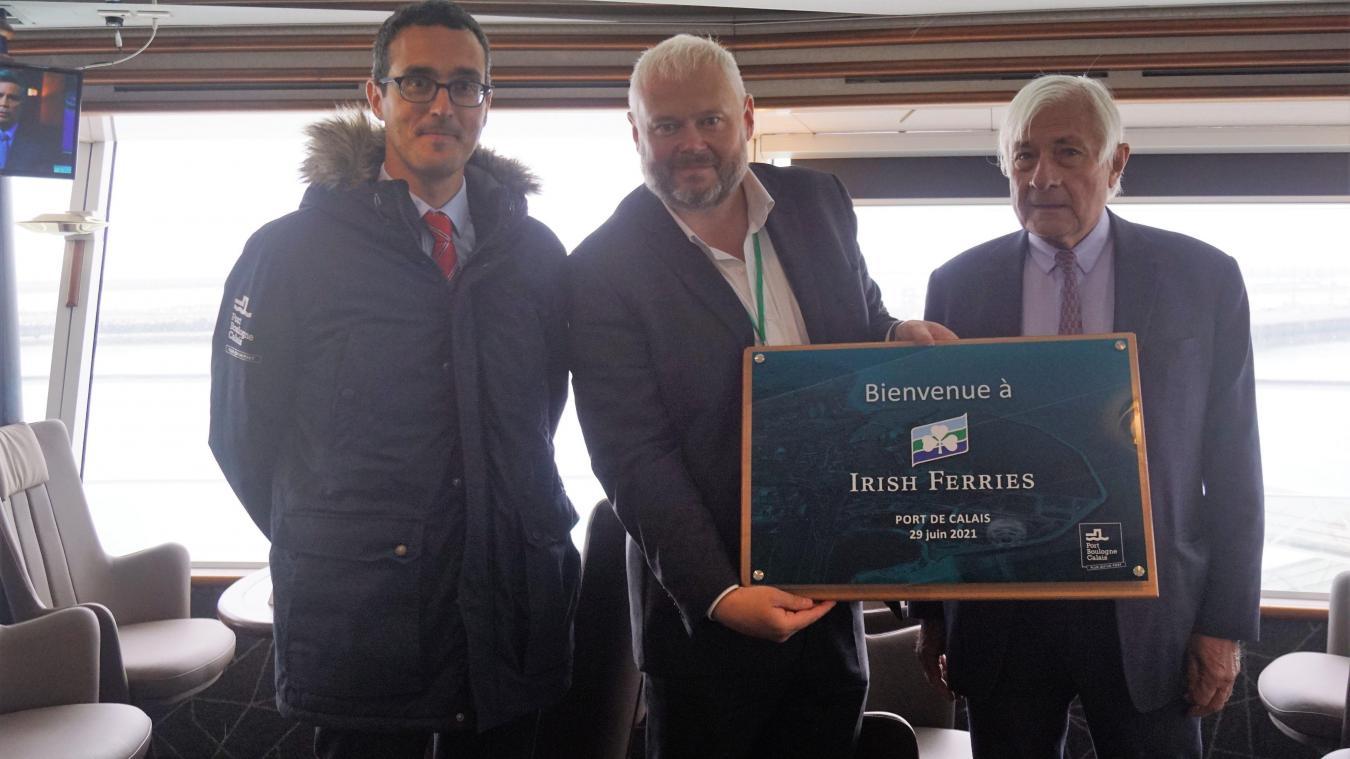Benoît Rochet, directeur général délégué du port de Calais, Andrew Sheen, directeur général d'Irish Ferries et Jean-Marc Puissesseau.