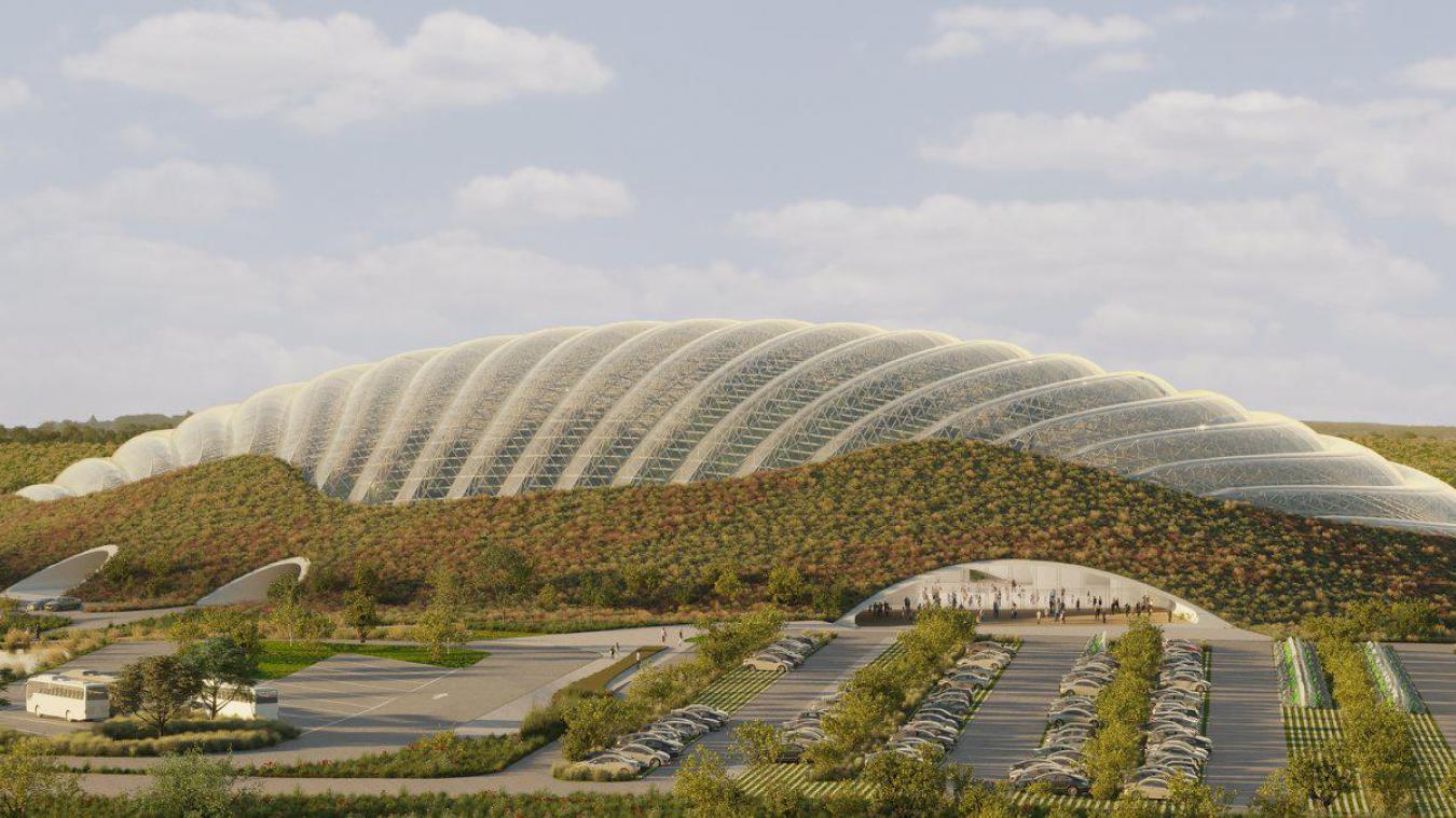 Une vue partielle du dome de Tropicalia, qui sera présent sur le site du Champ Gretz en 2024.