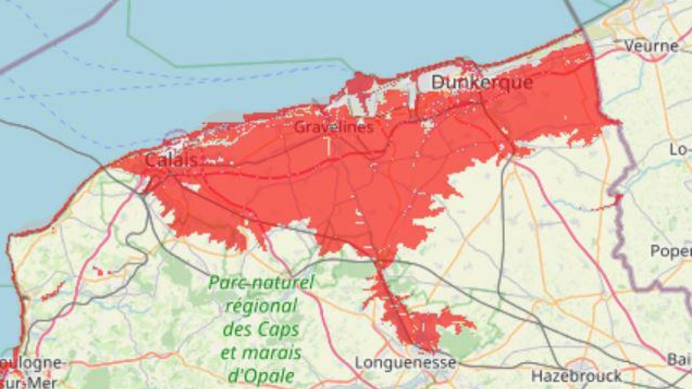 Carte du BRGM (Bureau de recherches géologiques et minières) des zones exposées à l'élévation du niveau de la mer à marée haute par rapport au niveau de la mer en 2016.