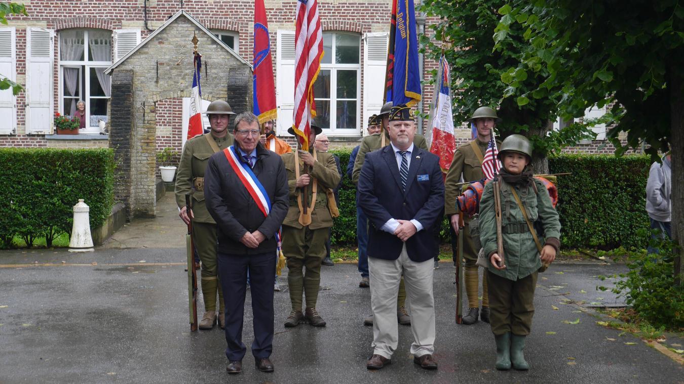 L'événement commémorait l'arrivée des soldats américains en Belgique via Houtkerque en 1918.