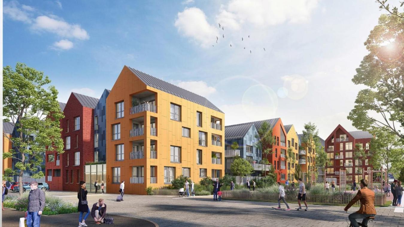 Vue du Dyck qui annonce le ton entre les couleurs des façades, le jeu de toitures et la plantation de quelques espèces pour verdir cette réhabilitation. Maes architectes et urbanistes
